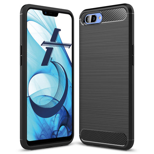 Flexi Carbon Fibre Tough Case for Oppo AX5 - Brushed Black